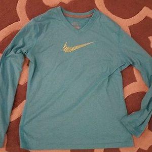 Girls Nike Dri Fit Blue V-Neck long sleeved top